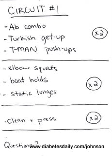 Image of the workout notes Ginger made for me