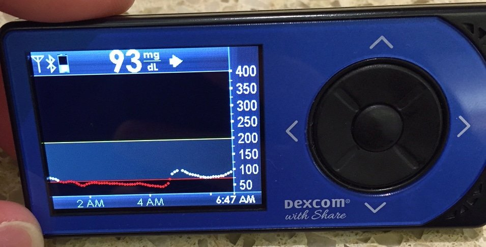 Dexcom with a long, late-night low