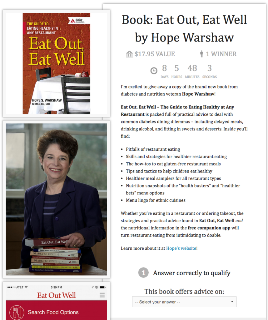 Screenshot of sweepstakes entry for Eat Out, Eat Well by Hope Warshaw