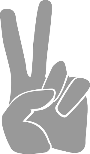 drawing of a hand with two fingers up