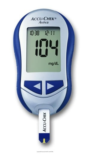 image of a glucose meter displaying 104 mg/dl