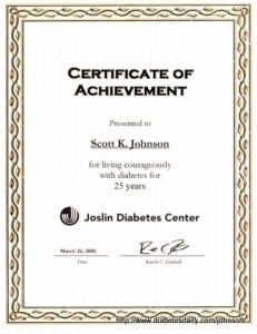 Picture of the Joslin Certificate of Achievement