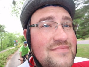 Image of Scott with his cycling helmet on
