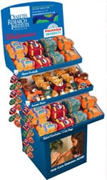 Display stand with plush toys to help support the DRI