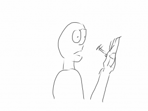 Drawn sketch of a guy with a syringe sticking out of his palm